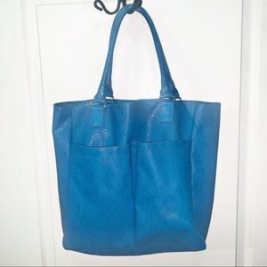 Nieman Marcus Faux Snake Large Blue Tote